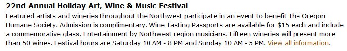 The 22nd Annual Wine, Arts and Music Festival at the Resort at the Mountain in Welches Oregon