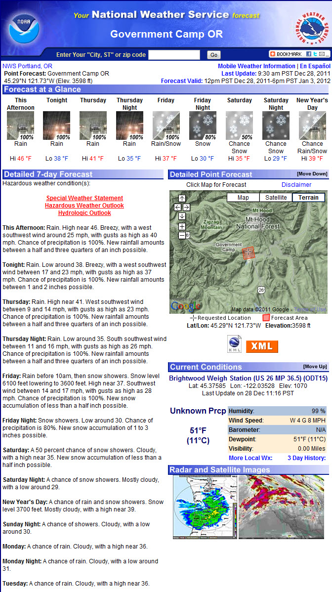 New Years on Mt. Hood weather forecast for Government Camp