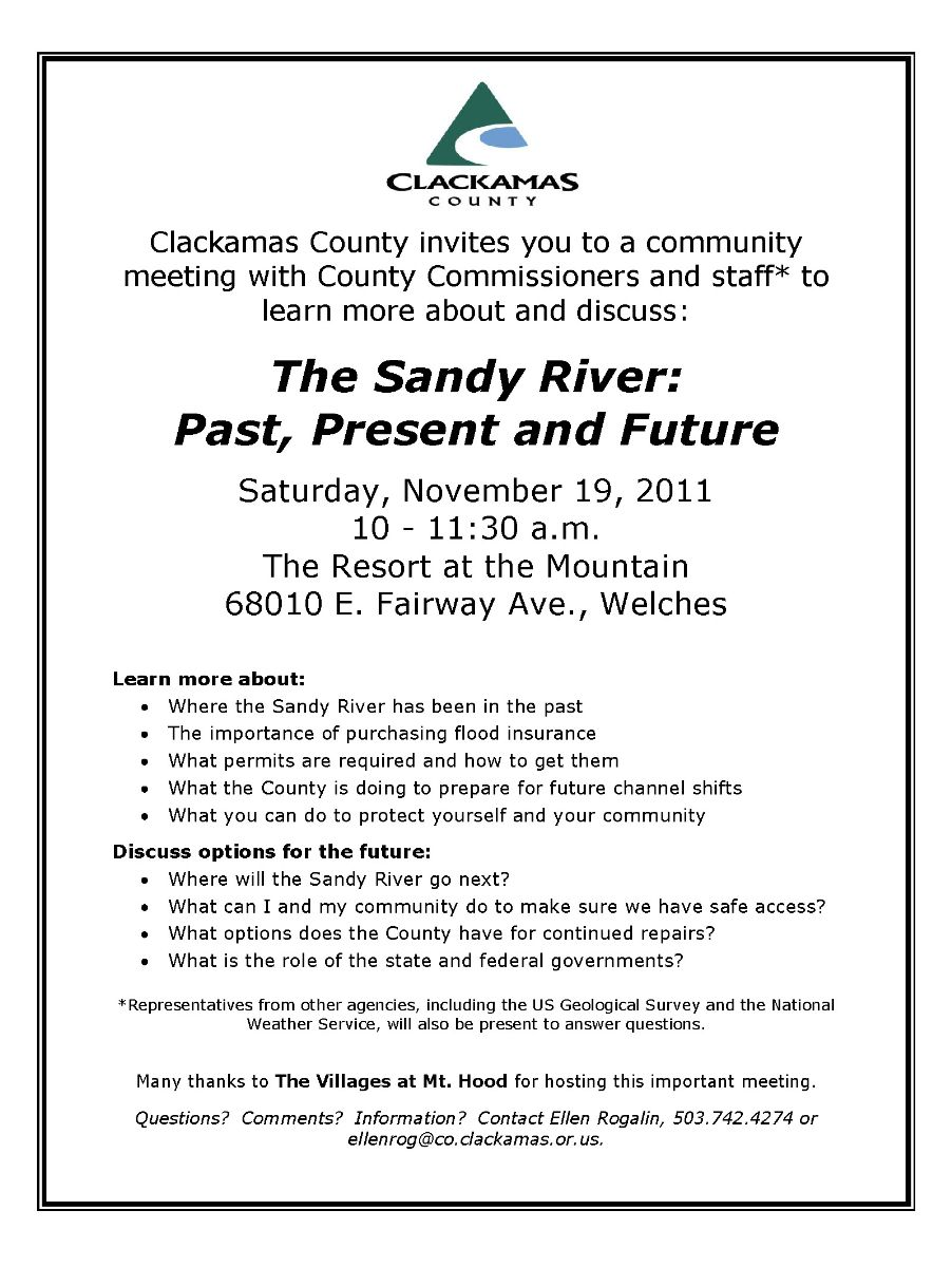 Clackamas County Meeting on the Sandy River