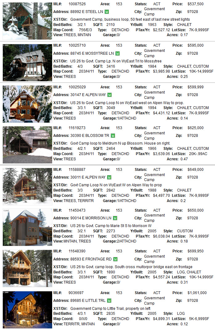 government camp real estate for sale
