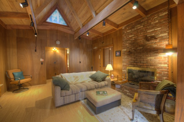 Mt. Hood cabin in Rhododendron Oregon with wood walls, fireplace and laminate floors near the Zig  Zag River