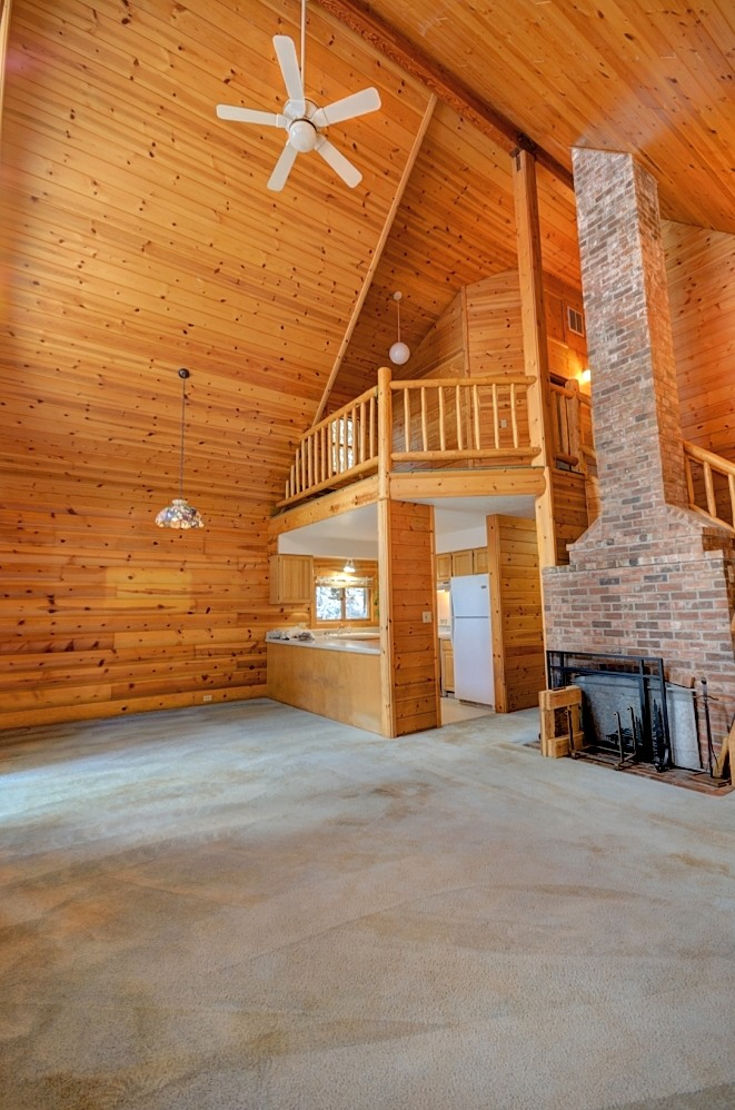 Pine Ceilings and Fireplace in the Mt. Hood Log Cabin on 10 Acres in Rhododenron, Oregon