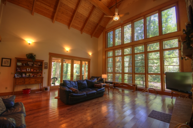 High Vaulted Ceilings in this Salmon Riverfront Home