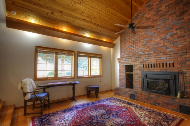 Brick Fireplace with Propane Stove Insert near Rhododendron, Oregon