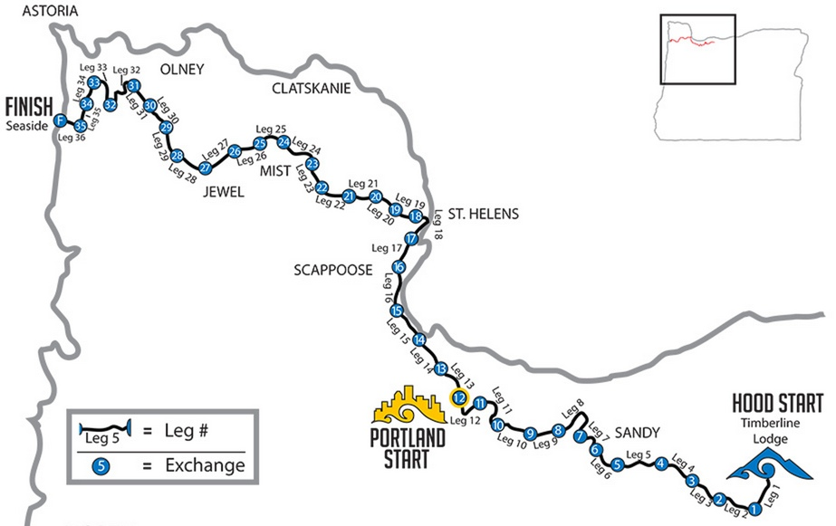 Hood to Coast Running Route