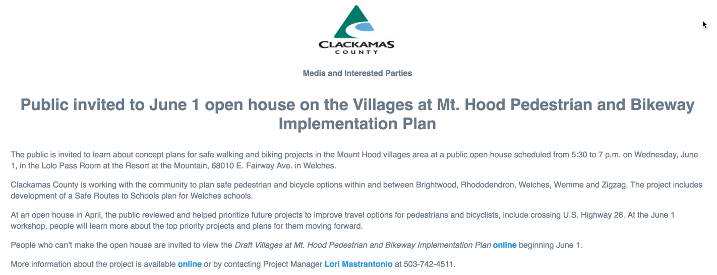 Mt. Hood Pedestrian and Bikeway Implementation Plan