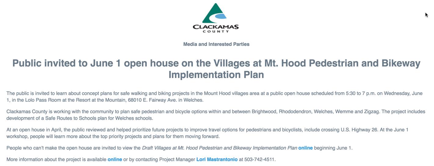Mt. Hood Pedestrian and Bikeway Implementation Plan