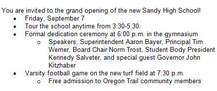 Sandy High School Grand Opening Schedule