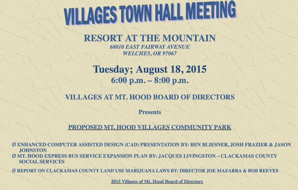Mt. Hood Villages Meeting