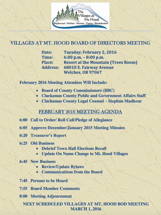 Villages at Mt. Hood Board of Directors Meeting in Welches Oregon