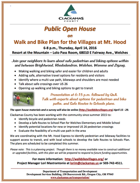 Walk and Bike Plan for the Villages at Mt. Hood