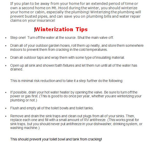 Mt. Hood Winterization Tips