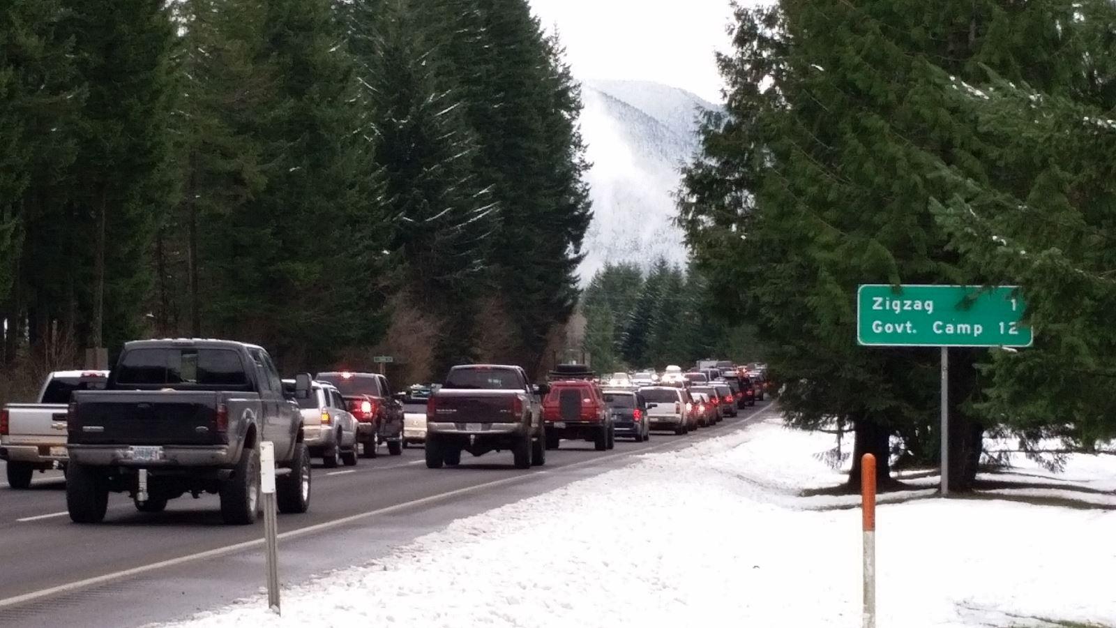 Mt. Hood Traffic Jam in Welches December 26, 2015