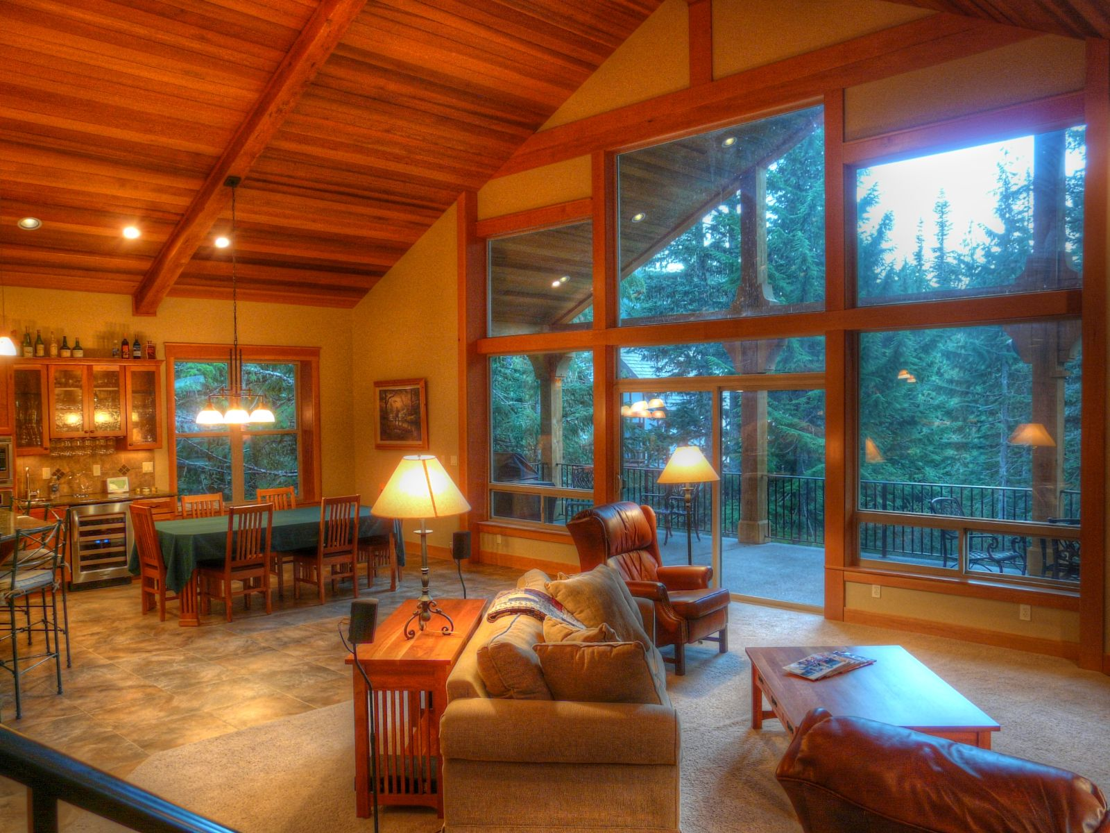All cedar ceilings with vaults, a wall of windows, and more