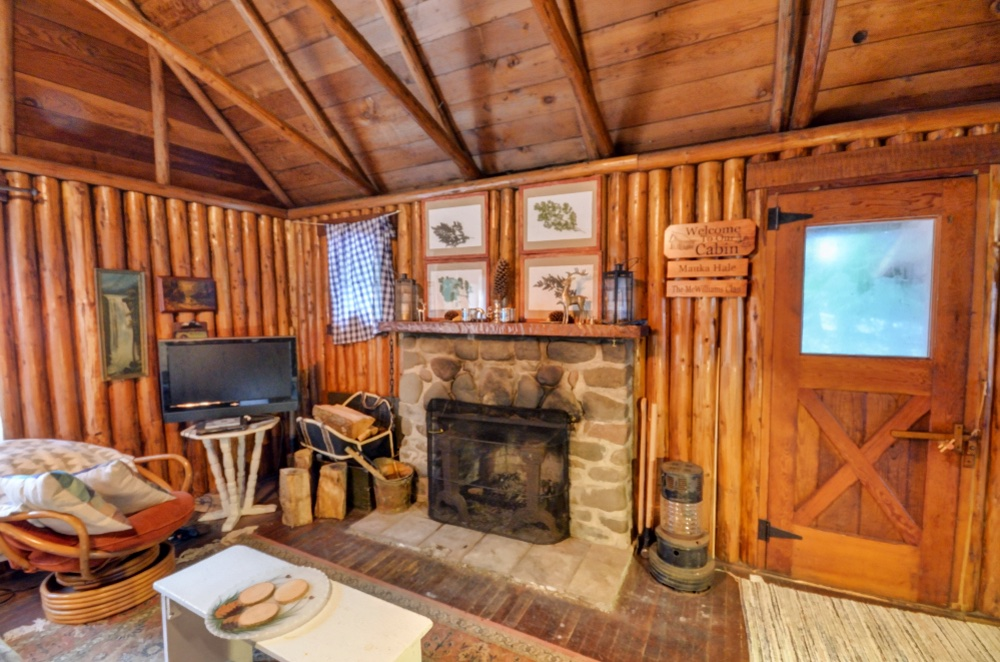 Stone Fireplace in this Brightwood Oregon Steiner Log Cabin