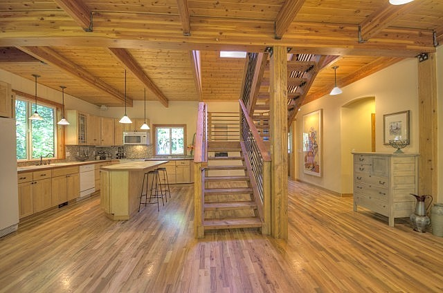 Tons of Wood throughout this Rhododendron Oregon Home on Mt. Hood