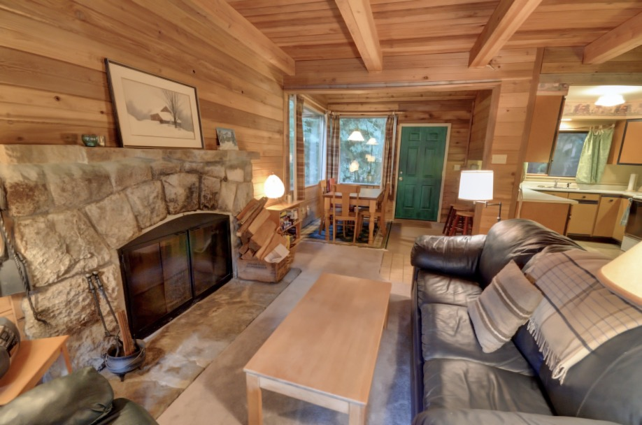 Henry Creek Cabin near Rhododendron with stone fireplace