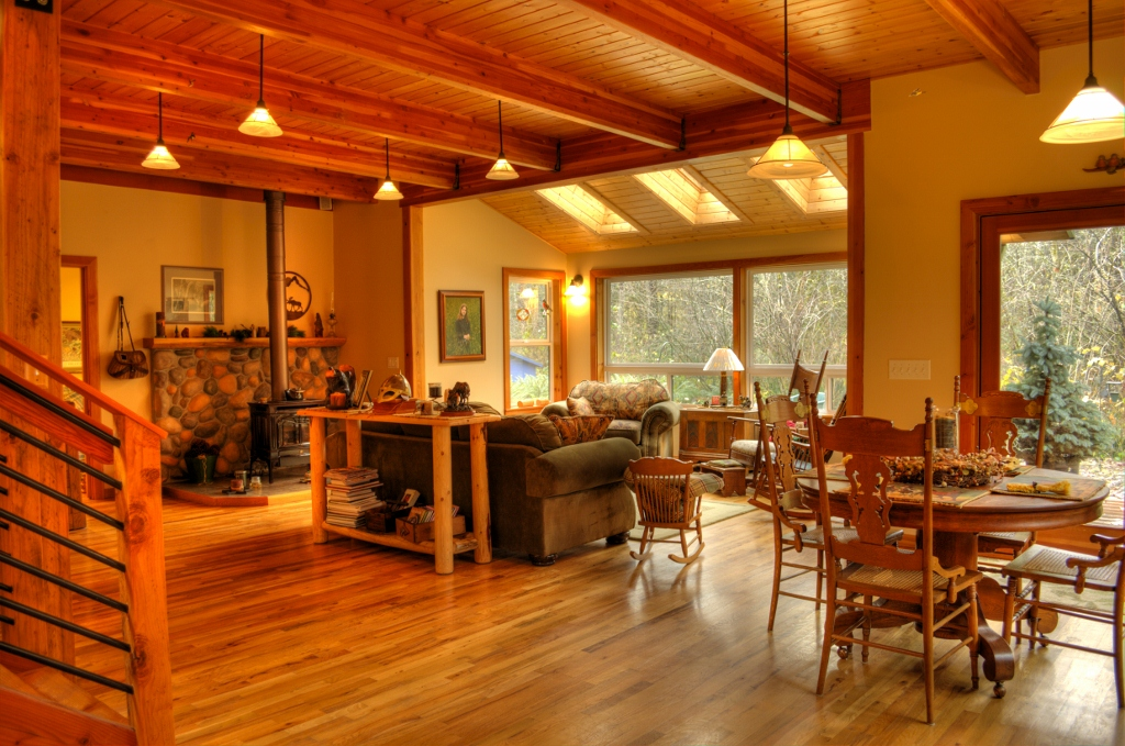 Lots of wood in this custom cedar home in Rhododendron Oregon