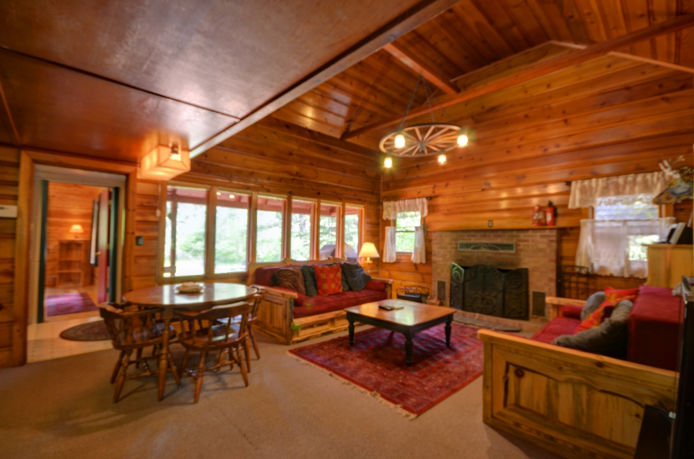 Knotty pine living room in 1935 cabin in Welches Oregon 97067