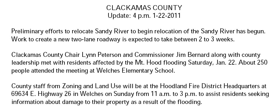 Clackamas County Sandy River Flooding update
