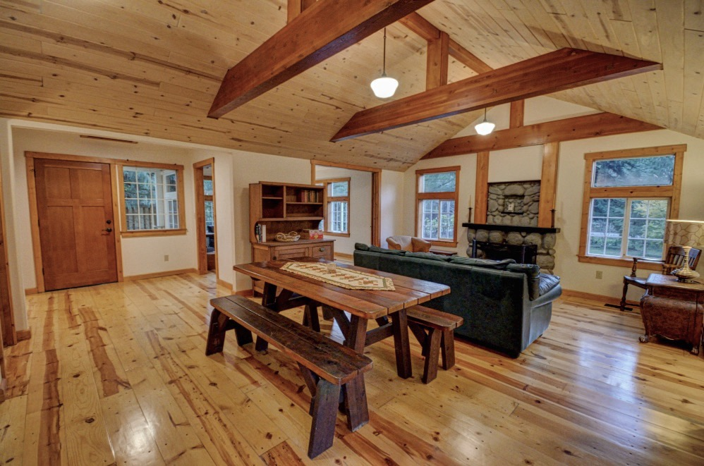 Plank Floors and wood beams in this Cascade Mt. Hood Cabin