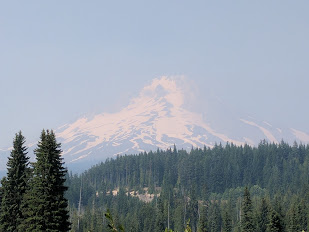A hazy view of Mt. Hood from Summit Meadows area in Government Camp, Oregon