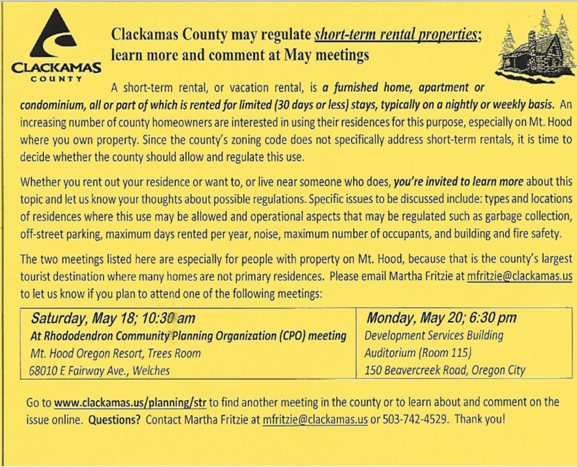 Clackamas County Meeting concerning Vacation Rentals